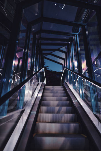 Absence Architecture Built Structure Ceiling Convenience Direction Empty Escalator Illuminated Low Angle View Metal Modern No People Railing Staircase Steps And Staircases Technology The Way Forward Transportation The Art Of Street Photography