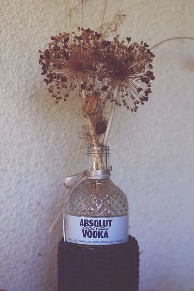 Bottle Vase Vodka Absolut Vodka Bottle Dried Flowers Bouquet In A Bottle Bouquet Of Flowers Reuse Recycle Reusebottles Upcycle Rosé Decoration Decoration With Flowers Decorationideas Vintage Absolut Vodka EyeEmNewHere