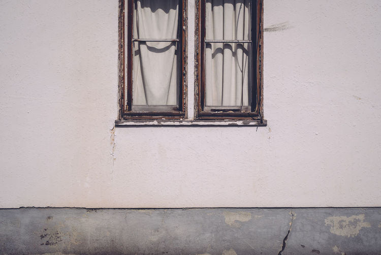 Closed windows of house