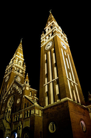 Szeged Dome Clock City Clock Face Clock Tower Illuminated Place Of Worship Spirituality Religion History Gothic Style Tall - High Tower Bell Tower - Tower