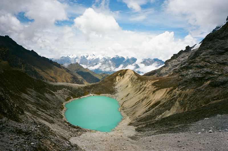 Adventure Club Film Peru Trekking Adventure Beauty In Nature Cloud - Sky Day Film Photography Landscape Mountain Mountain Range Nature No People Outdoors Physical Geography Salkantay Scenics Sky Trail Tranquil Scene Tranquility Water