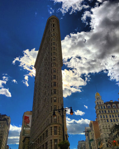 Flatiron Building Architecture Blue Building Exterior Built Structure City Cloud - Sky Clouds And Sky Day No People Outdoors Sky The Architect - 2017 EyeEm Awards