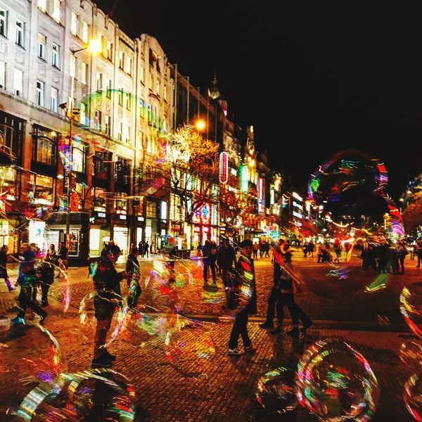 #Bubbles Night Building Exterior Architecture Illuminated City Street