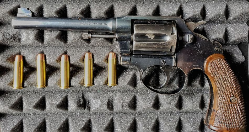 Six Shooter Pistol 38 Special Police Positive Protection Six Shooter Bullets Metal Foam Collector Technology Alphabet Full Frame Communication Backgrounds Pattern Close-up Locked Rusty