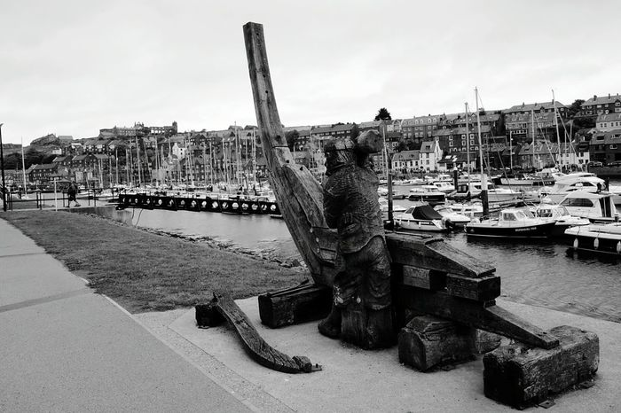 Shipbuilding Ship Building Sculpture Wooden Sculpure Carving Carved Wood Harbour View Whitby Harbour Industry Fishing Boat Working Harbour Overlooked by Whitby Abbey Outdoors Scenics Landscape Boats Coast Water Yorkshire Coast