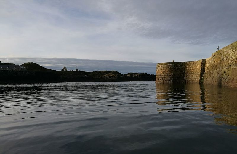 Aberdeenshire Portsoy Harbour Reflection Built Structure Large Stone Harbour From Kayak