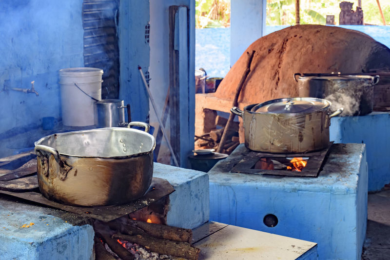 Food is being cooked on wood burning stove