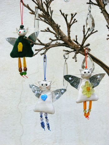3 Cat Angels. Cat Angel Tree Ornaments Hanging MerryChristmas Christmas Decoration Christmas Tree Cat Lovers Cats Of EyeEm Close-up Heather Fifield Heather Fifield Art Awehaven Art Handmade For You Awehaven Creative
