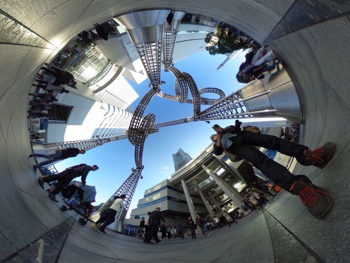 いろいろ試しながら遊んでます♪😄 Theta Theta360 Super Wide Angle 広角機動隊 Low Angle View City View  City Life Cityscape Streetphotography People Watching The Purist (no Edit, No Filter) EyeEm Best Shots - The Streets EyeEm Best Shots - People + Portrait EyeEm Best Shots Snapshot Taking Photos Walking Around お写ん歩 Architecture
