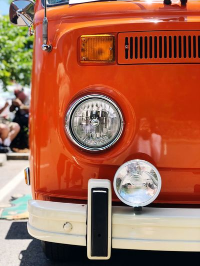 Volkswagon Bus Volkswagon Headlights Orange Color Vintage Cars Mode Of Transportation Car Land Vehicle Transportation Motor Vehicle Headlight Day Retro Styled Close-up No People Outdoors Red