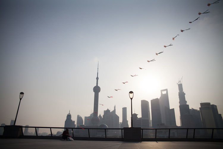 Oriental Pearl Tower And Financial District Against Clear Sky