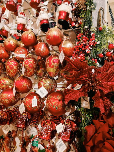 Close-up of christmas decoration in market