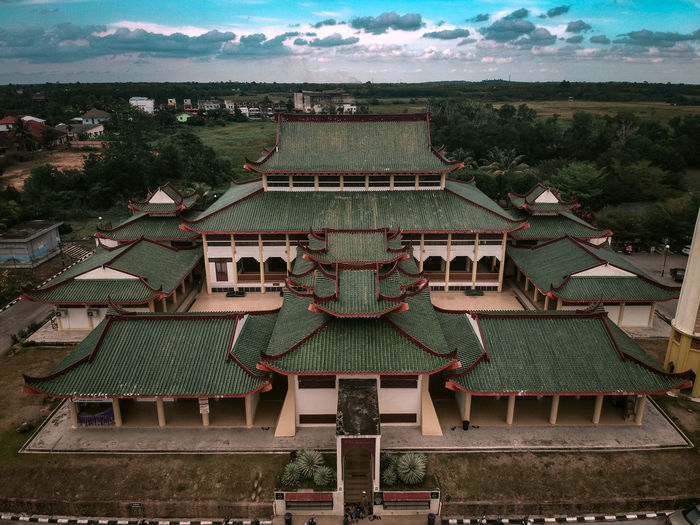High angle view of shrine