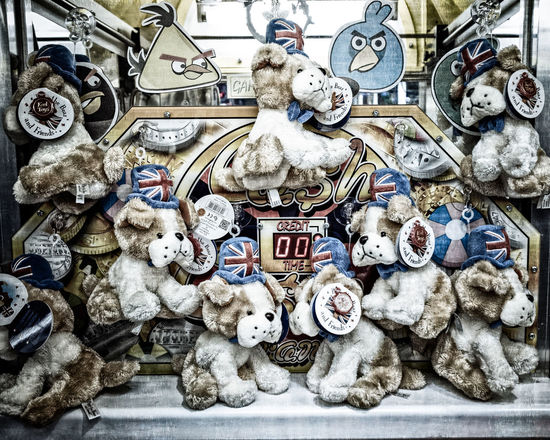 Torquay In The Rain - British Bulldog Cuddly Toy Grabber Machine Prizes Arcade Games British British Summer Bulldog Devon Dogs English Riviera Heavy Rain Prizes Rain Rainy Days Torquay Amusement  Angry Birds Arcade Arcade Game Arcade Machine British Bulldog Close-up Cuddly Toy Cuddly Toys Day Grabber Machine Indoors  No People