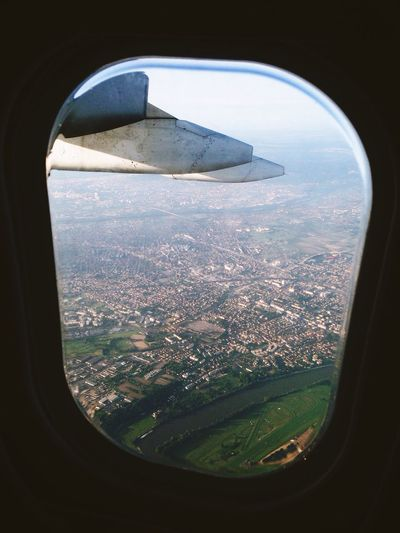 Paris France From An Airplane Window Flying From Above