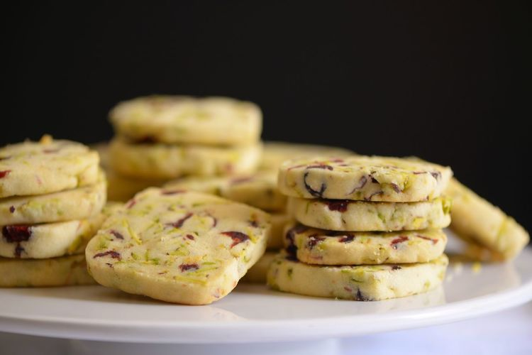 Pistachio Cookie Cookies Shortbread Cookies Dried Cranberries Pistachio Nuts Food And Drink Food Freshness Plate Ready-to-eat Close-up Indoors  Still Life Selective Focus Sweet Food Stack Wellbeing