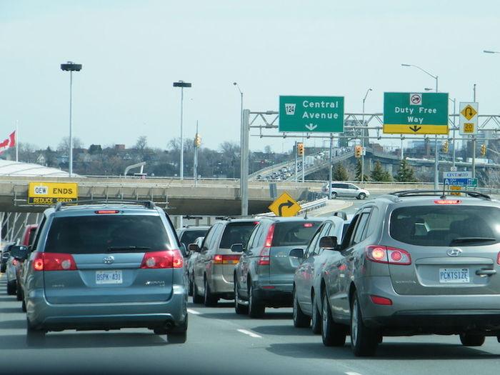Traffic at the border Border Crossing Bridge Traffic Peace Bridge Backup Exhaust Fumes Long Wait Mode Of Transport Traffic Transportation