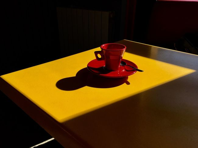 Coffee Yellow Indoors  No People Table Red Close-up Shadow