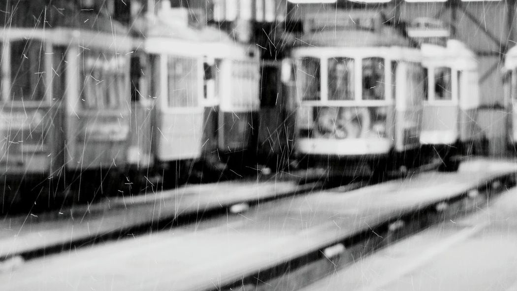 The Rain Drops it is a Rainy Day City Explorer Public Transportation Blurred Background Yellow Train Public Transport Taking Photos City Transportation Old Transport City Trans Black And White Black & White Transportation Tourist Attraction  Garage Showcase April