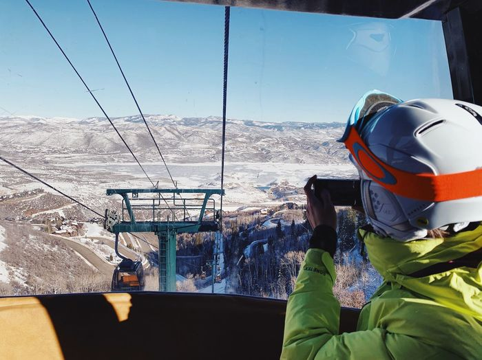 the view from the lift on the Jordanelle side of the mountain. Deer Valley Resorts Park City, Utah Wasatch Mountains Nature Day Sky Sunlight One Person Mountain Transportation