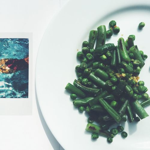beans and green peas are in the plate Frozen Vegetables Green Peas Plate Food