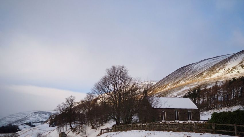 Snow Winter Cold Temperature Tree Nature Weather Beauty In Nature Built Structure Bare Tree Building Exterior Sky Cottage Mountain Scenics Tranquil Scene Architecture No People Outdoors House Tranquility Church Scotland Scottish Highlands Glenshee