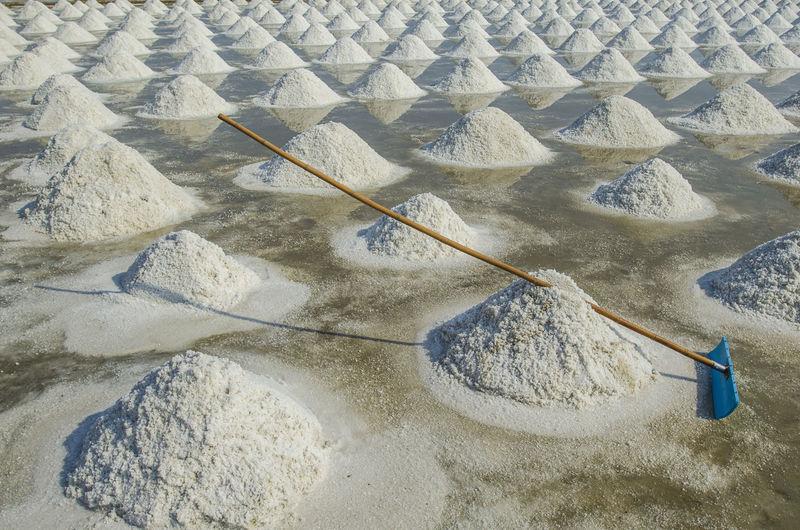 Equipment for collect salt in saline in phetchaburi, thailand