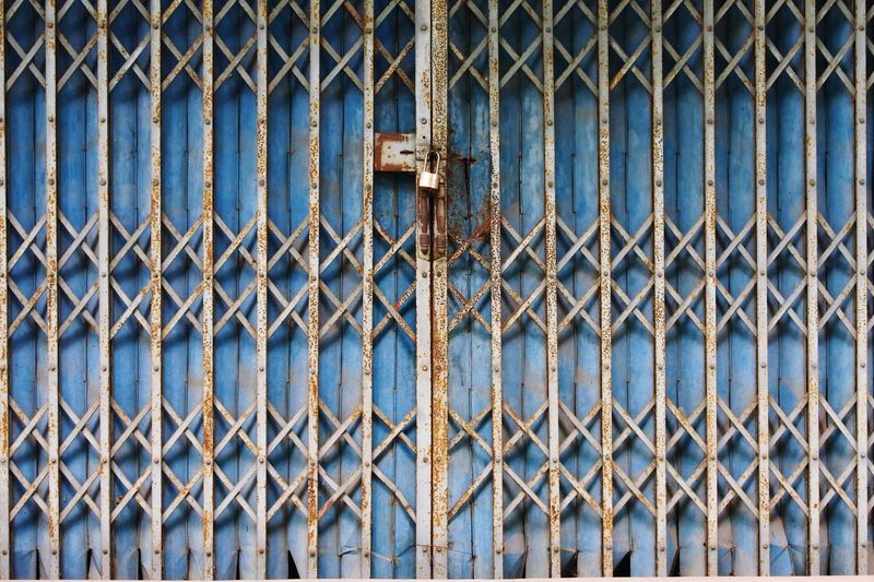 Full Frame Metal Day Security Safety Close-up Backgrounds Outdoors Pattern Protection No People Rusty Blue Prison