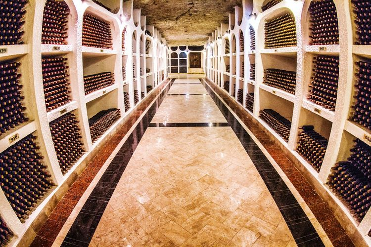 Corridor of wine cellar