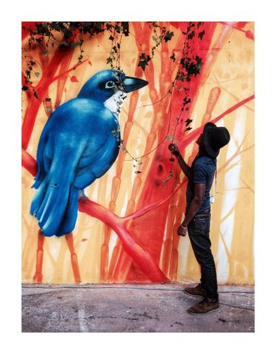 Big blue bird Full Length Bird One Young Woman Only Animal Themes Real People Young Adult Outdoors One Person Human Hand Adult Young Women Day One Young Man Only Facetoface ArtWork Close-up Adults Only People Macaw