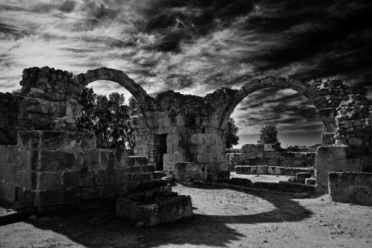 Old ruins against cloudy sky