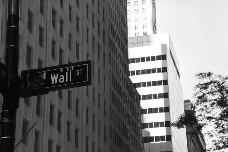 Wall Street. Where sharks reigning. Wallstreet Sign Panel Blackandwhite Black And White Blackandwhite Photography City Building Street Streetphotography Minimal Destination Tourism Economy Economic Place NYC Black And White Friday