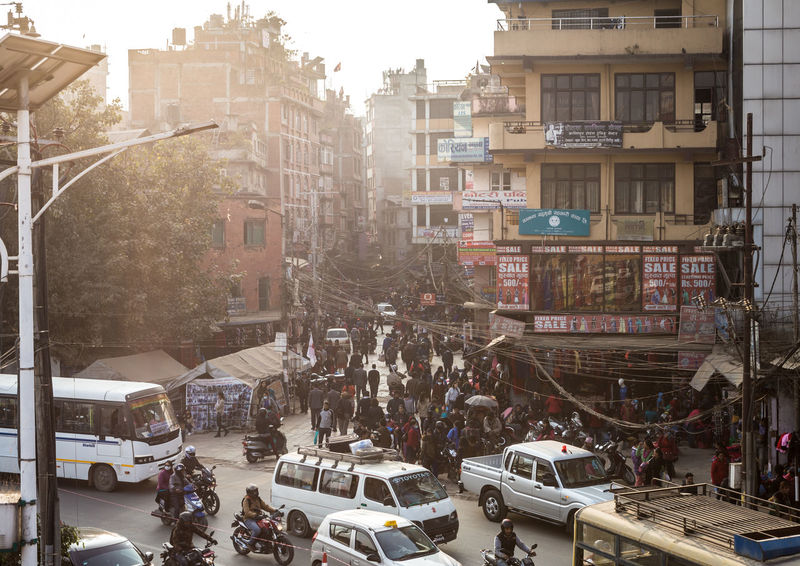 Chaotic streets of Kathmandu in Nepal capital city ASIA Chaos Kathmandu Nepal Architecture Building Exterior Capital Cities  Car Chaotic City City Life Crowd Crowded Crowded Street Day Indian Subcontinent Land Vehicle Outdoors Pollution Road Street Transportation