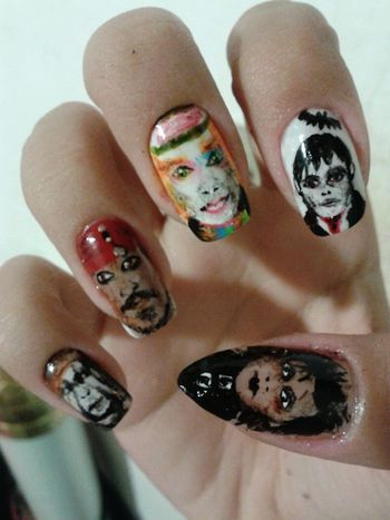 Color Portrait Art Nail Art Johnny Depp
