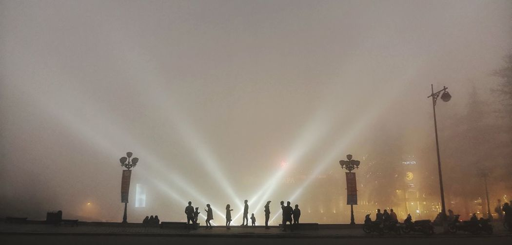 Group Of People Sky Illuminated Night Crowd Architecture Real People Silhouette People Arts Culture And Entertainment Lifestyles Men Lighting Equipment Travel Destinations