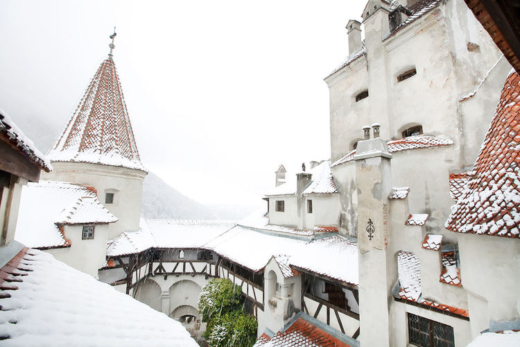 Snow covered bran castle at transylvania