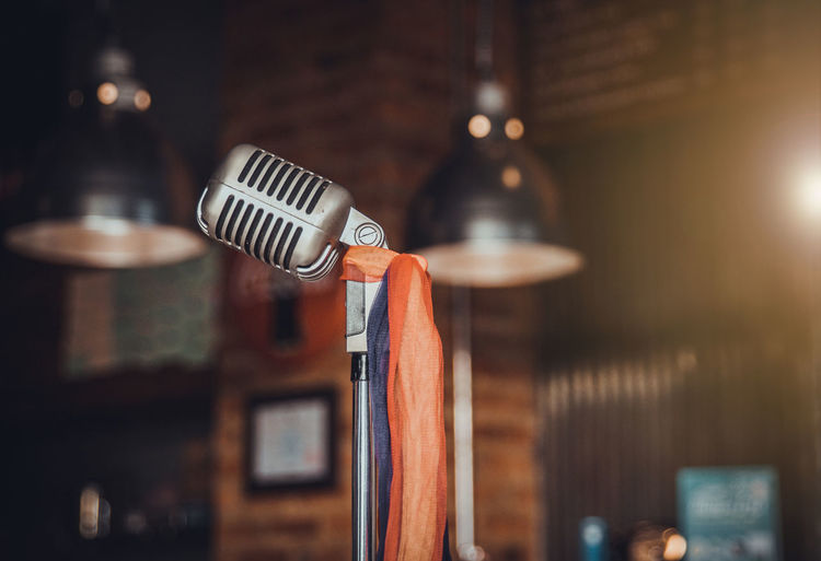Audio Mic Music Studio Business Choice Close-up Electric Lamp Equipment Household Equipment Illuminated Indoors  Instrument Kitchen Utensil Light Lighting Equipment Metal Microphone Selective Focus Steel Technology Voice