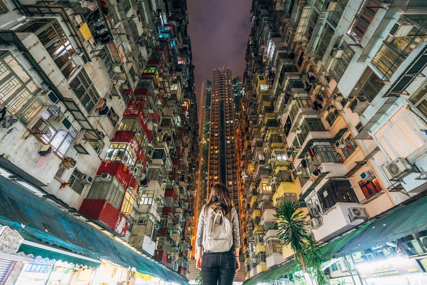 Low Angle View Looking Up Long Exposure Residential Building Building Exterior Buildings Montane Mansion Yick Fat Back View One Person Single Woman Night Buildings Architecture
