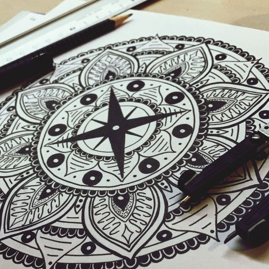 Indoors  Close-up No People Navigational Compass Day Clock Clock Face Art Mandala Black White Pattern Achtsamkeit Stressless Drawing