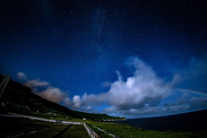 titian Sky Scenics - Nature Cloud - Sky Night Star - Space Nature Beauty In Nature Road Tranquil Scene Transportation No People Tranquility Landscape Environment Direction Astronomy Land Field Blue The Way Forward Outdoors