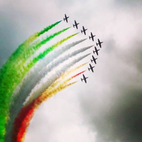 Airshow Vapor Trail Speed Teamwork Smoke - Physical Structure Flying Low Angle View Multi Colored Sky Transportation Airplane Motion Air Vehicle Mode Of Transport Fighter Plane Military Airplane Aerobatics Performance Cloud - Sky Arrangement