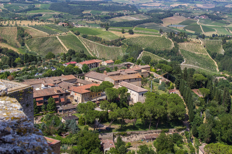 Aerial View High Angle View Landscape Nature Tuscany Travel Destinations