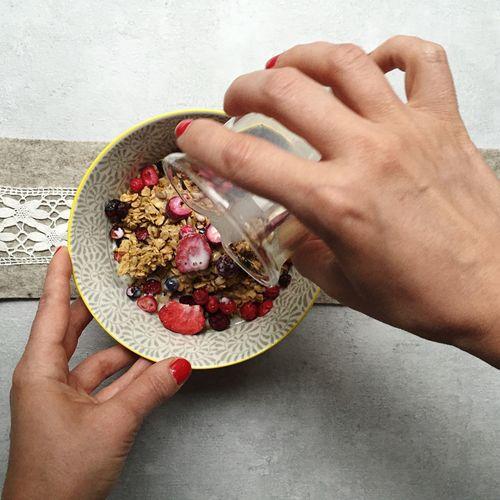 Muesli Cereal Breakfast Morning Food Foodporn Milk Freshness Healthy Eating Eating Eat Fruit Fruits Dry Fruits Berries Berry Hand Hands Table Bowl Dish Enjoying A Meal Organic Vegetarian Food Vegetarian