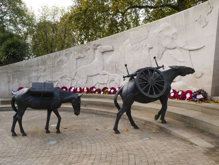 The Animals in War Memorial is a war memorial in Hyde Park, London. It is located on Park Lane, at the junction with Upper Brook Street, on the eastern edge of the park. The memorial was designed by English sculptor David Backhouse to commemorate the countless animals that have served and died under British military command throughout history. Park Lane Animal Themes David Backhouse Day Domestic Animals Horizontal Hyde Park, London Mammal Nature No People Outdoors The Animals In War Tourism Tourist Attraction  Travel Travel Destinations Tree Vivid International War Memorial