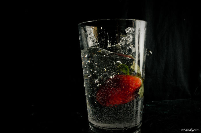 This Valentines day fall in love with purity and Music #FlashingLights #Valentine's Day #feb14 #love #nikon #strawberry Black Background Close-up Day Drink Drinking Glass Food Food And Drink Freshness Fruit Healthy Eating Indoors  No People Red Refreshment Studio Shot Water