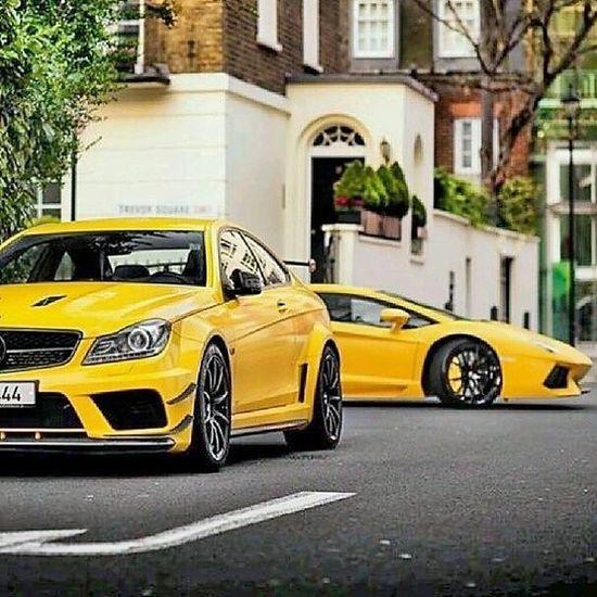 Beautiful monsters Black and yellow C63 & Lamborghini aventador????