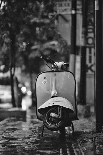 classy Vespa Classic Motorcycle Blackandwhite Black And White Monochrome Close-up Rainfall RainDrop Wet Vehicle Rain Parking Water Drop