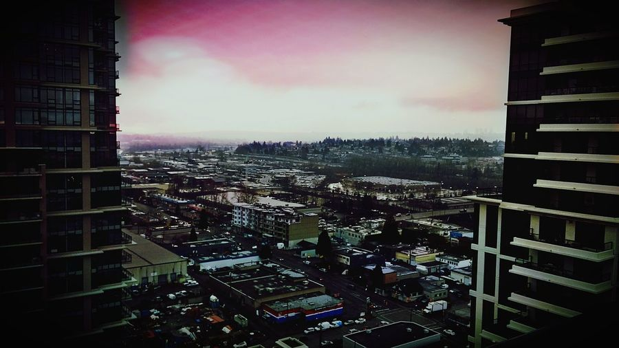 Coquitlam City Cloud - Sky Downtown District Aerial View Sunset Sky Built Structure Check This Out