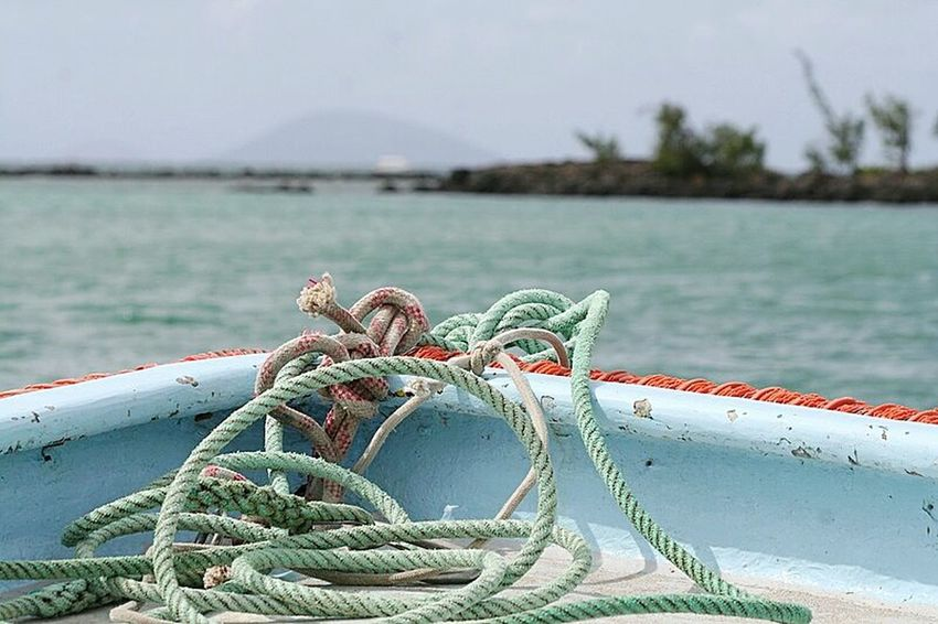 Land !!! Water Sea Focus On Foreground Nautical Vessel Boat Travel Rope Transportation Close-up Vacations Tourism Tranquility Personal Perspective Nature Day Tranquil Scene Sailing Journey Cord Outdoors Ocean Solitude Beauty In Nature Horizon Over Water