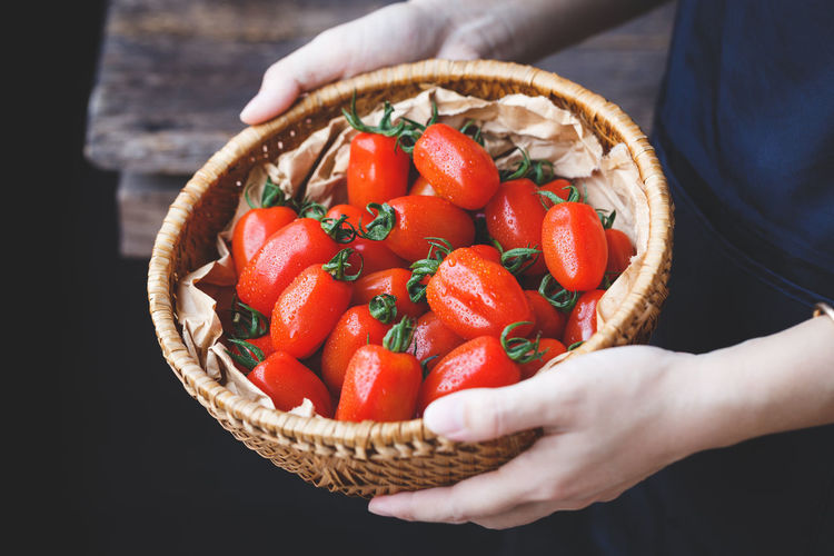 Midsection of woman holding tomatoes in basket